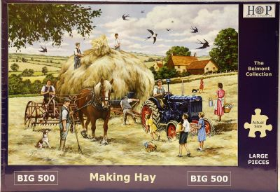 Making Hay Big 500 Piece Jigsaw Puzzle Fordson Tractor & Shire Horse