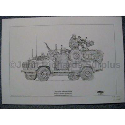 Land Rover signed reproduction print Defender WMIK RAF Regiment