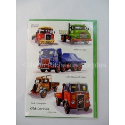 Blank Old Lorries greetings card with envelope for any occasion