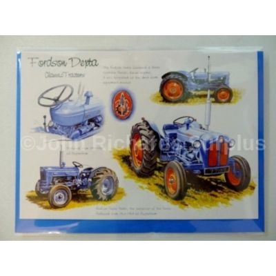 Blank Fordson Dexta Tractor greetings card with envelope for any occasion