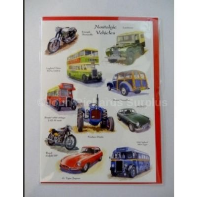 Blank Nostalgic Vehicles greetings card with envelope for any occasion