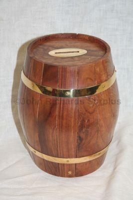 Naval Barrel large Money Box Wood with Brass Finish