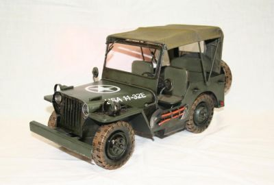 Handcrafted Tin Plate World War 2 American Jeep