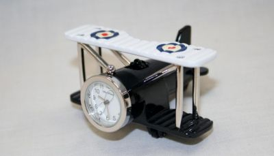 Miniature Aeroplane Biplane Design Battery Operated Desk Clock 9973
