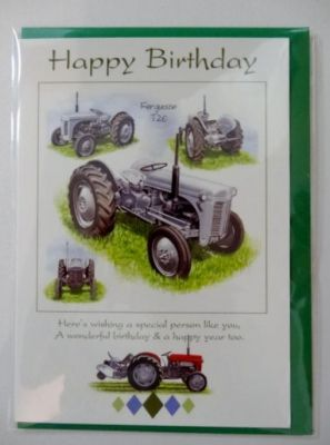 Happy Birthday Ferguson T20 Tractor greetings card with envelope