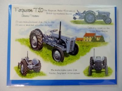Blank Ferguson T20 Tractor greetings card with envelope for any occasion