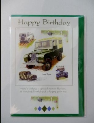 Happy Birthday Land Rover greetings card with envelope