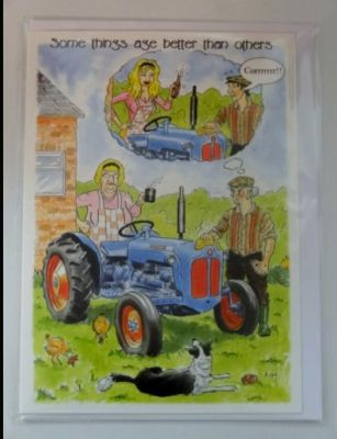 Blank Cartoon Tractor greetings card with envelope for any occasion