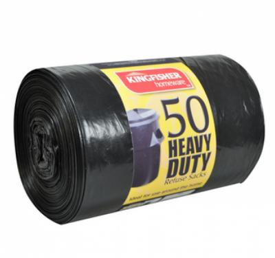 50 Black Heavy Duty 120L Refuse Sacks.