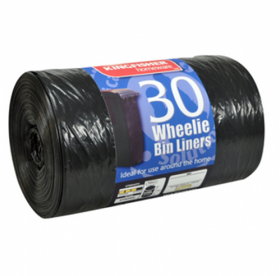 30 x Black Quality 440L Wheelie Bin Liners