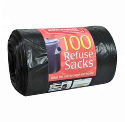 100 x Black Standard 70L Refuse Sacks.
