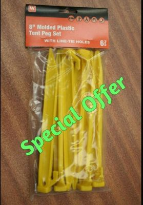 Base Camp set of 6, 8inch molded plastic tent pegs 32527