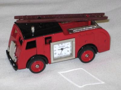 Miniature Fire Engine Design Battery Operated Desk Clock 9860