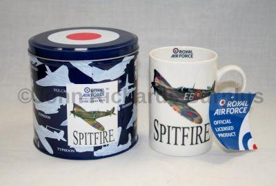 RAF Supermarine Spitfire Fine China Mug in a Tin