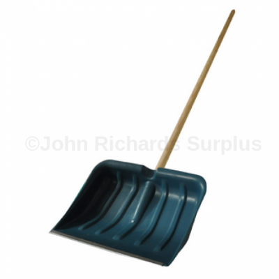 Snow shovel with wooden pole handle