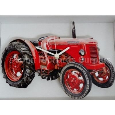 Handmade wooden wall clock David Brown 30D Tractor Battery operated