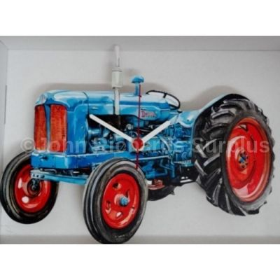 Handmade wooden wall clock Fordson Major Tractor Battery operated