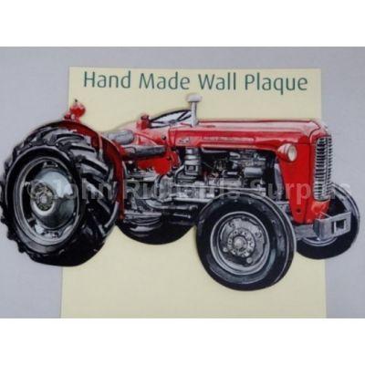 Handmade wooden wall plaque Massey Ferguson 35X Tractor