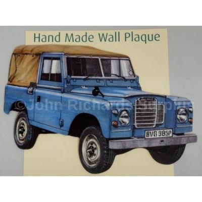 Handmade wooden wall plaque Land Rover Series 3 SWB Soft Top